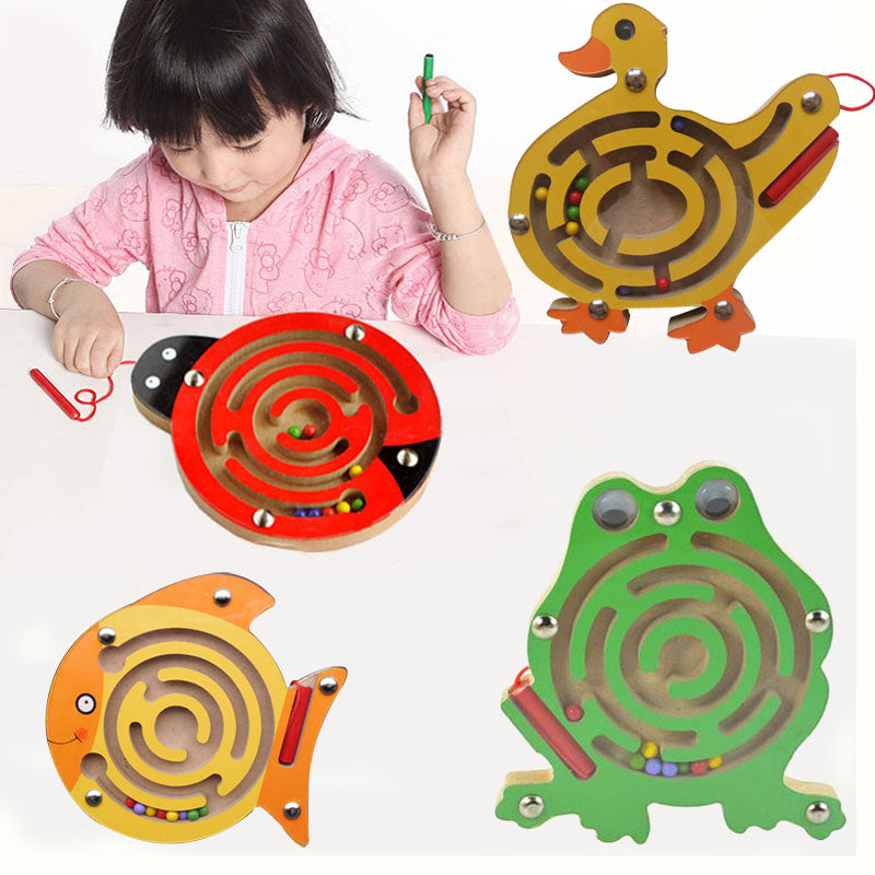 2017 1pc Magnetic Maze Kids Wooden Animal Early Educational Learning