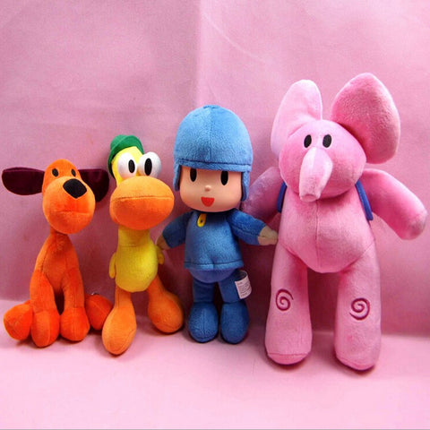 4pcs/lot Full Set POCOYO Cartoon Stuffed Animals & Plush Toys Hobbies Loula & Elly & Pato & POCOYO Plush Toy Cute Soft Dolls