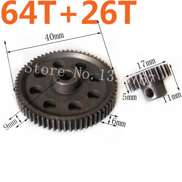 11184 Metal Diff.Main Gear 64T &11176 Motor Gear 26T RC Parts 1/10 HSP