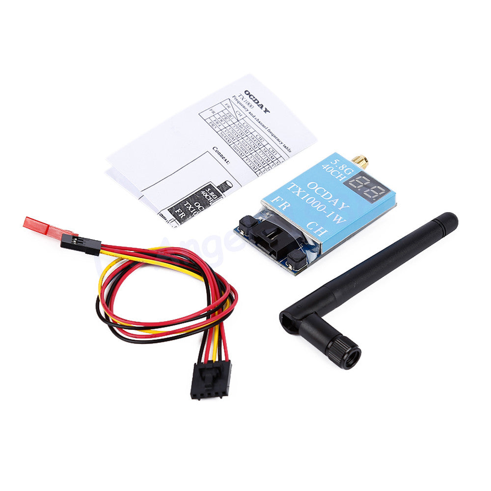 1pcs OCDAY FPV 5.8G 40CH TX1000 1000MW 7-26V Wireless AV Image