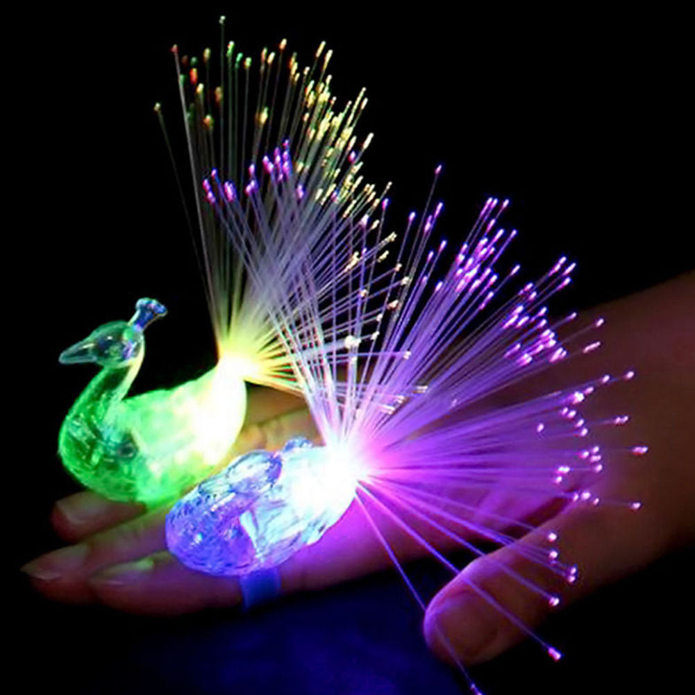 1 PC Peacock Finger Light Colorful LED Light-up Rings Party Gadgets