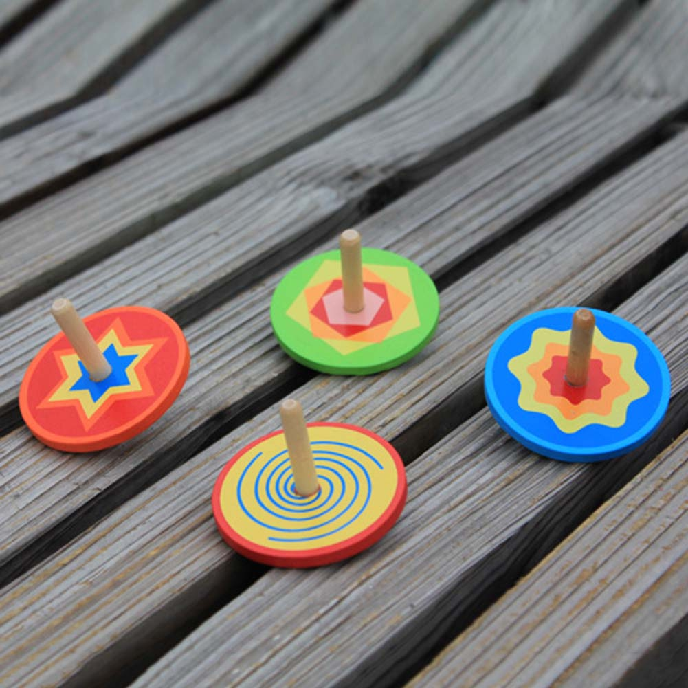 1pc Multicolored Spinning top,colorful Wood gyro,Kindergarten