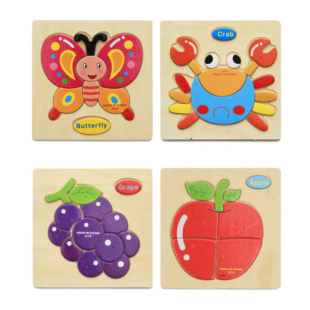 1 PC Color Random New Baby Kid Cartoon Animals Fruits Dimensional