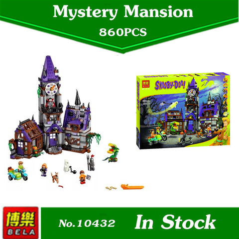 New Bela 10432 Scooby Doo Mysterious Ghost House 860pcs  Building Block  Toys Compatible 75904 Blocks gift
