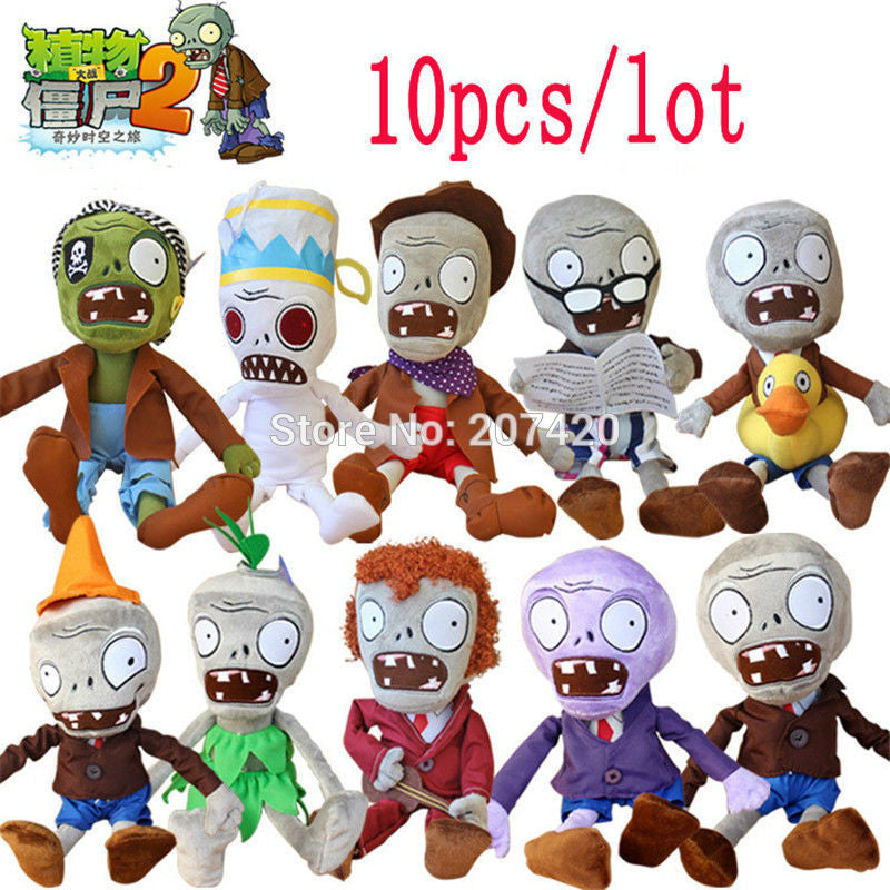 10pcs/lot 30cm Plants vs Zombies Plush Toys Games PVZ Zombies Soft