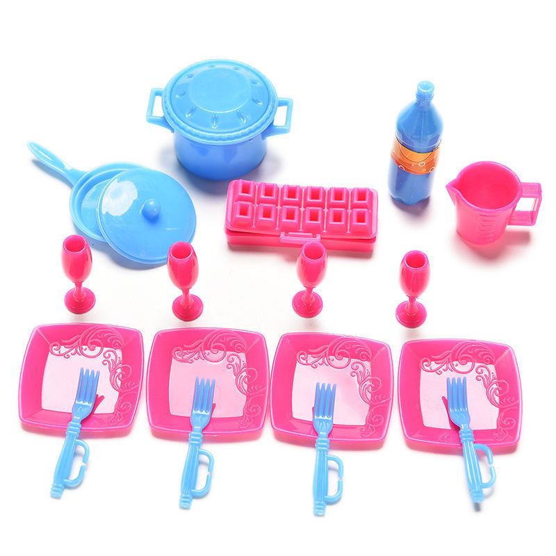 18 Pcs/set Toys Mini Plastic Tableware Pots and Pans Dishes for