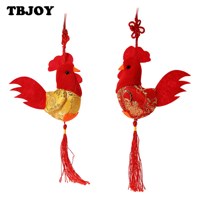 1PC New China Wind 8cm Little Chicken Pendant Plush Rooster Cock Small
