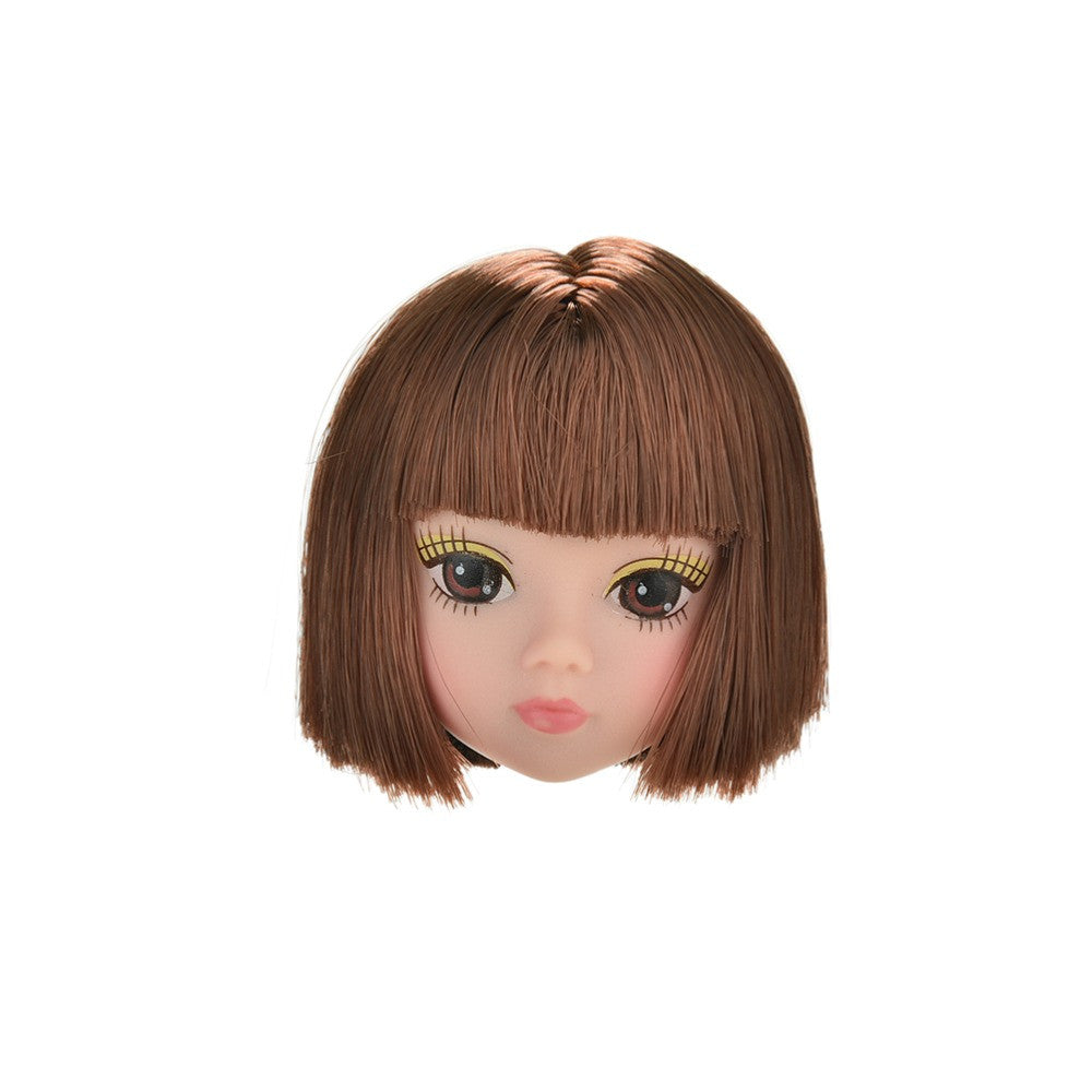 1 Pc Doll Head Fashion Flaxen Short Hair Students Head Wigs For
