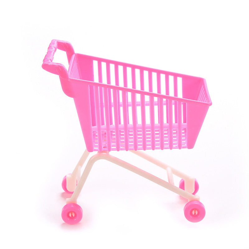 1PCS Shopping Cart for Barbie Doll Trolleys Plastic Pink Classic