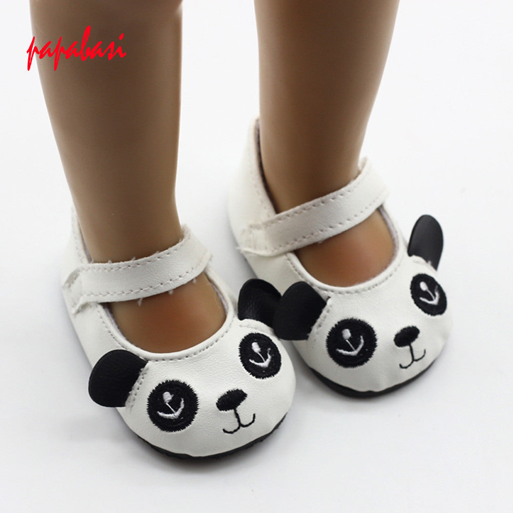 1pair cartoon Panda Shoes For 1/3 18'' American Girl Doll 43cm Zapf