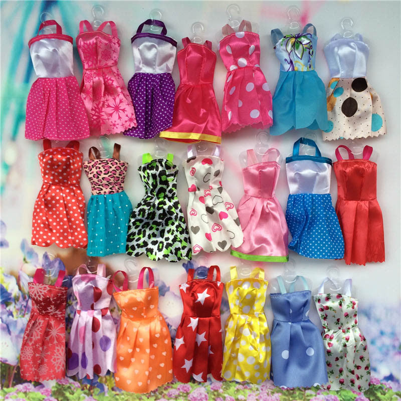 10pcs Mix Sorts Handmade Girl Doll Mini Party Dress Fashion Clothes