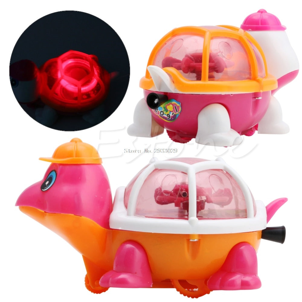1Pc New Lovely Infant Baby Educational Pull Emitting Little Turtle