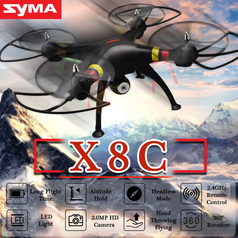 SYMA X8C Professional Drone with 2.0MP HD Camera Remote Control Quadcopter 2.4G 4CH RC Helicopter UAV Toys 3D Rotation LED Light