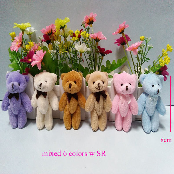 10PCS Super Kawaii 8CM Joint Bowtie Teddy Bear Plush TOY DOLL ; Stuffed TOY Wedding Gift Bouquet Decor DOLL TOY