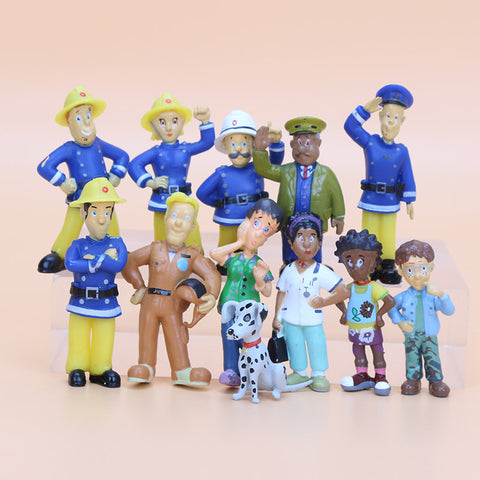 12Pcs/Set Fireman Sam action figure toys 2.5-6cm Cute Cartoon PVC Dolls For Kids fireman sam toys