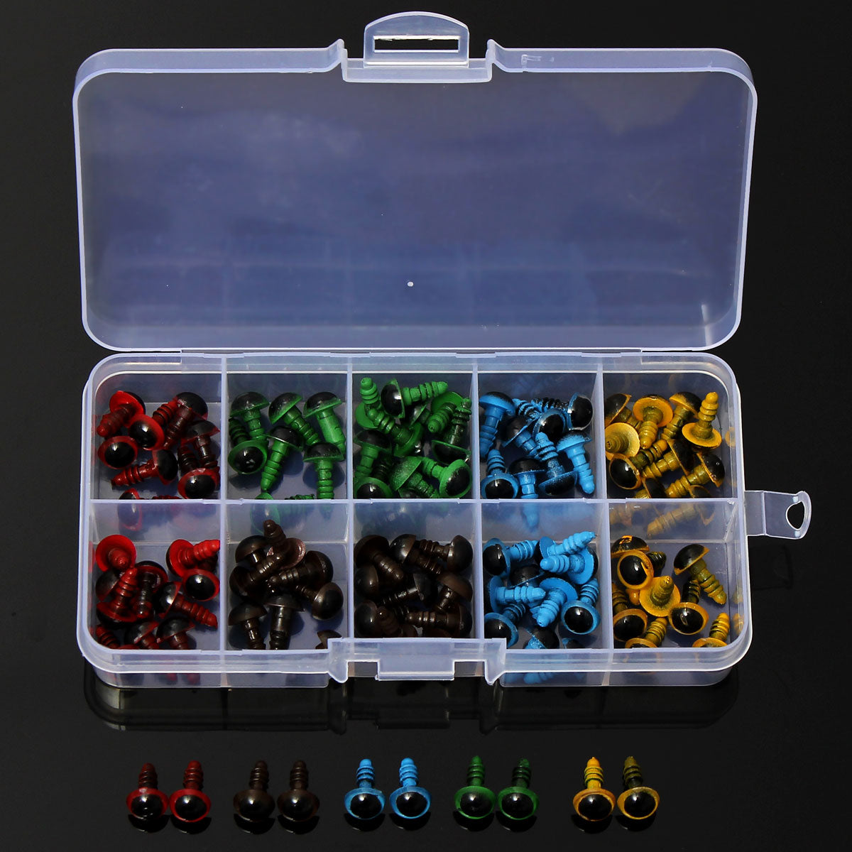 Wholesale 100 Pcs/50 Pairs 5 Colors-Mix 8mm Plastic Safety Eyes Box