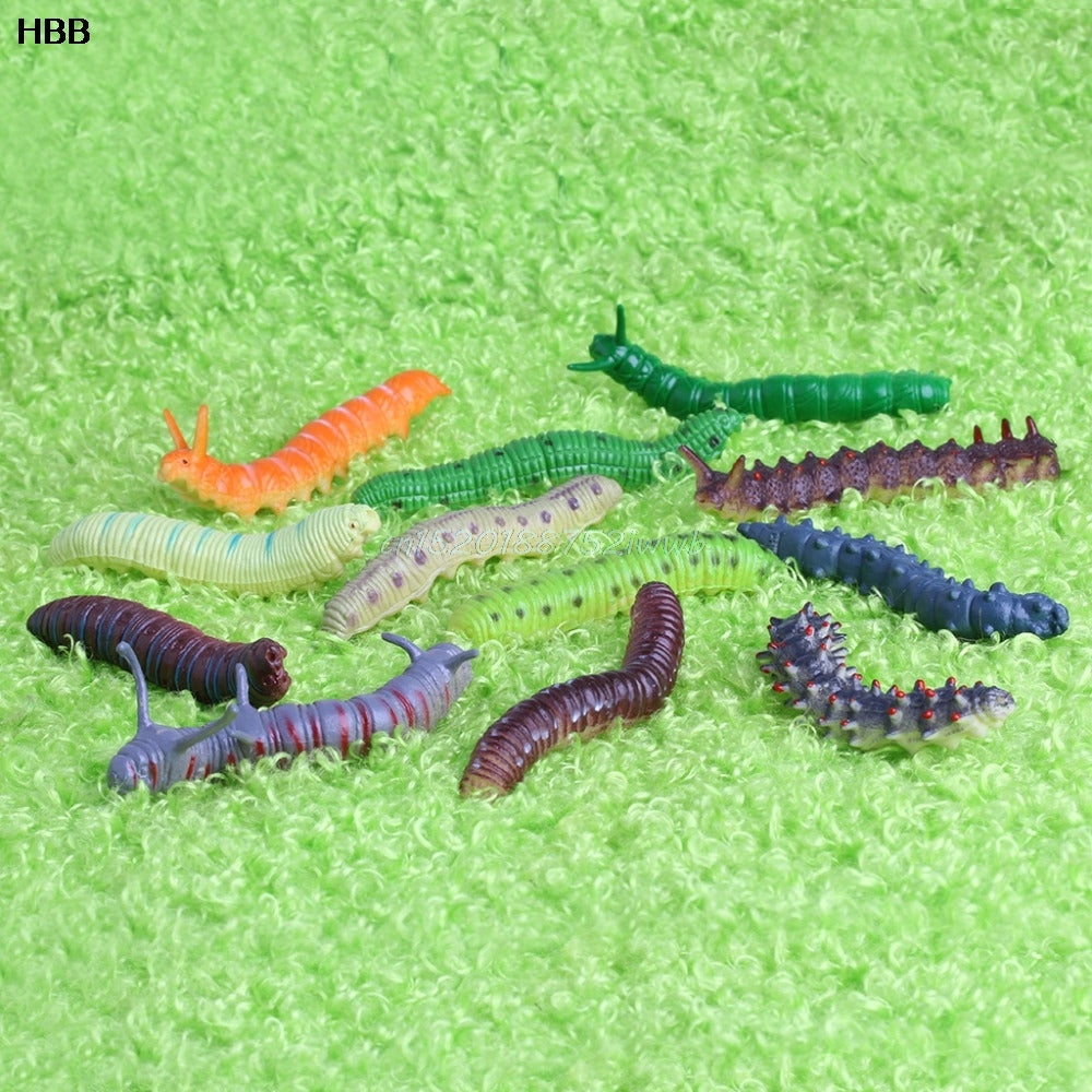 12 x Twisty Worm Realistic Fake Caterpillar Insect Educational Trick