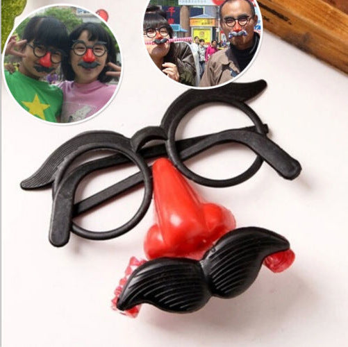 1Pc Funny Cheap Ball Round Frame Nose Whistle Mustache Clown glasses