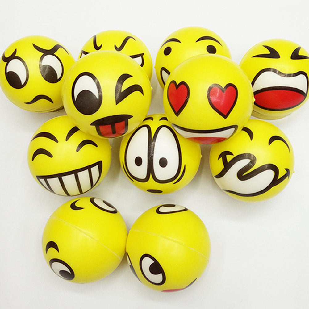 1 PC Color Random Children 's Elastic Ball Baby Smiling Face PU Ball