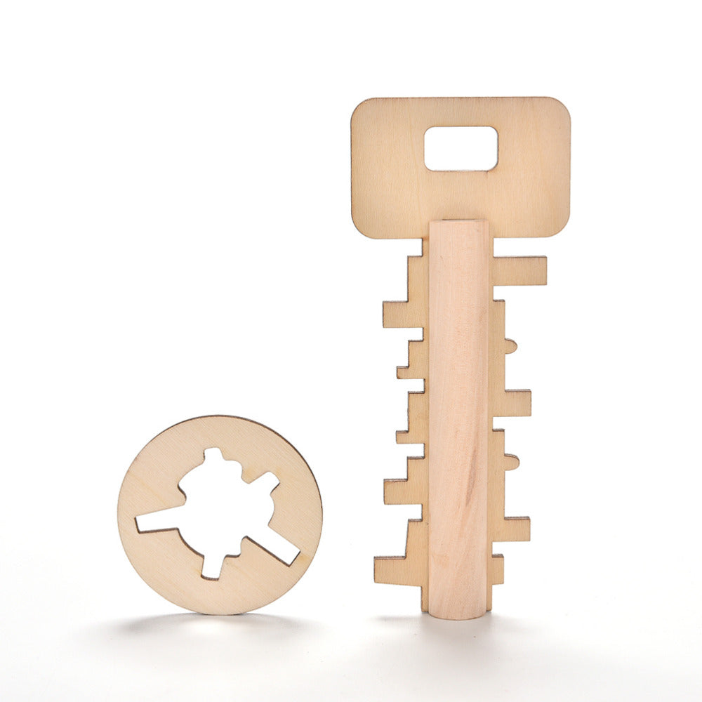 1PCS Hot Selling Puzzle Key Pre-school Wooden Kid Toy Funny Key Unlock