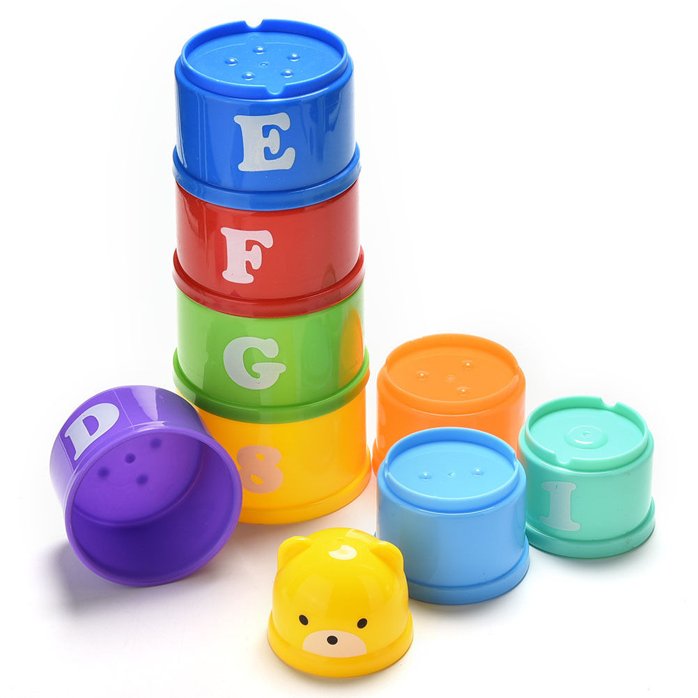 1 Set Hot Sale Educational kids Figures Letters Folding Cup Stacking