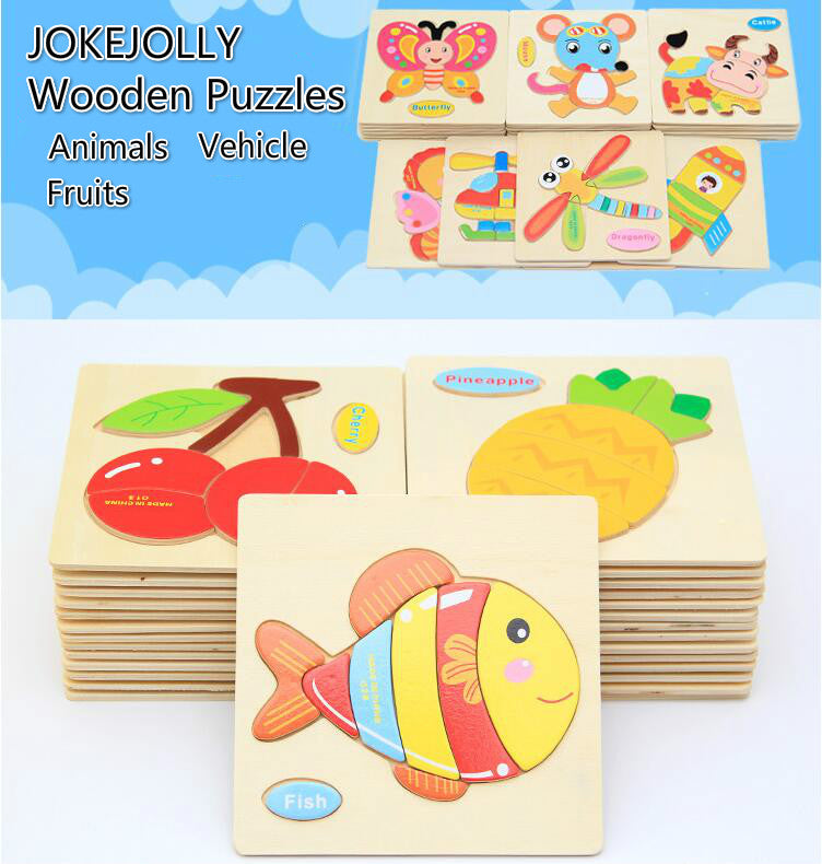 1pcs colorful Kid Wooden Animals Cartoon Picture Puzzle Kids Baby