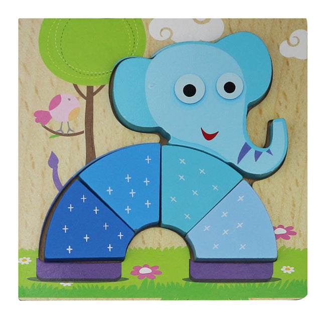 1 Pc Wooden 3D Puzzle Jigsaw Wooden Toys For Children Cartoon Animal
