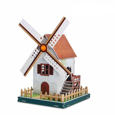 3D Puzzle Toy Solar powered windmill model Educational Toys for