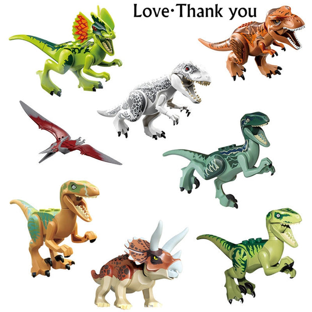 8pcs/set Dinosaurs Jurassic World Dinosaurs Figures Jurassic Building Tyrannosaurus Assemble Blocks Classic with Kids Toy