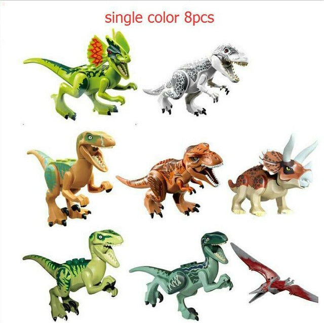 YNYNOO 16Pcs/lot Dinosaurs of Jurassical World Figures Movie Building Blocks Models & Building Toys Gift Best Gifts For Children