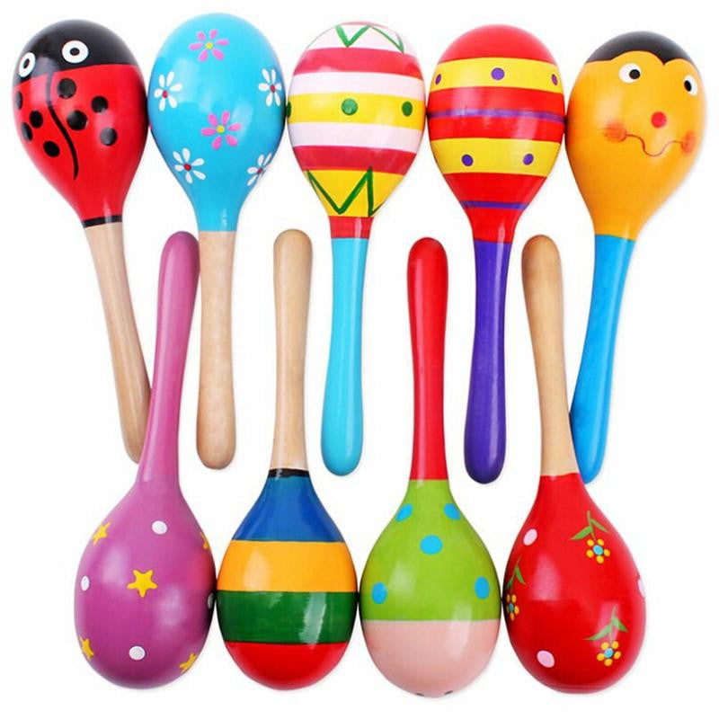 1Pcs Wooden Maraca Wood Rattles Kids Musical Party favor Child Baby