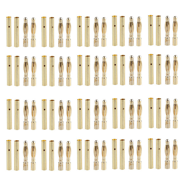 20 Pairs 2mm Bullet Banana Plug Connector for RC Battery Gold Plated