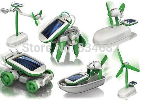 Solar Power 6 in 1 Toy Kit DIY Electronic Toys Robot Car Boat Dog