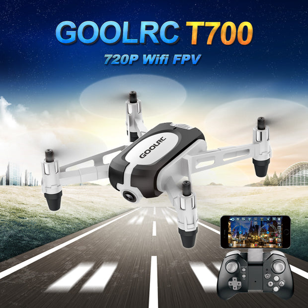 GoolRC T700 720P Wifi FPV Mini Selfie Drone G-Sensor Hold Altitude RC Training Quadcopter w/ 3 Battery Toys for Kids Beginners