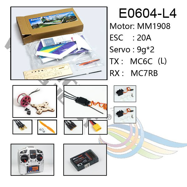 Freeshipping RC Foam Plane EPP Training Airplane Model Rainbow Fly Wing 1000mm Wingspan With Motor2050KV ESC20A Servo9g*2