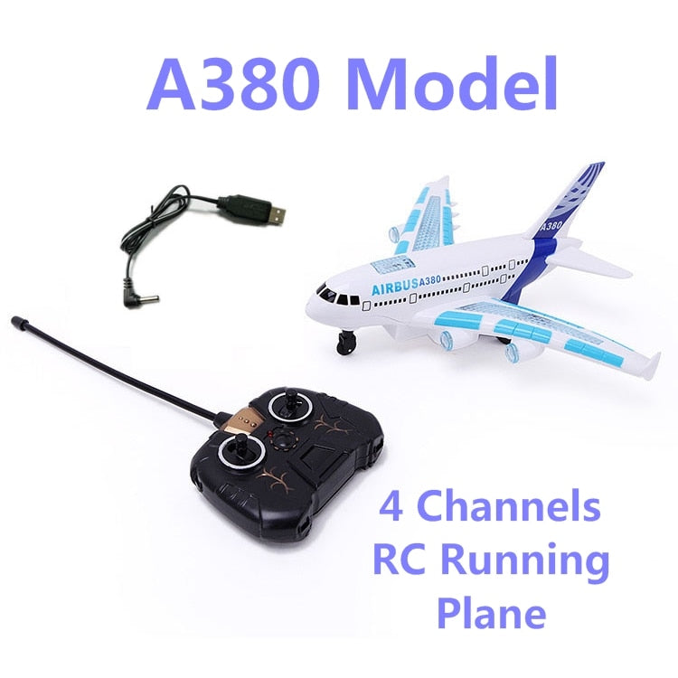 Hot Sale A380 Model Remote Control Airplane 4 channels rc toys with music and light running on ground can not fly best gifts