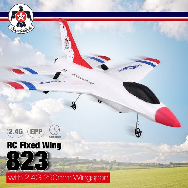 FX-823 2.4G 2CH Remote Control Glider 290mm Wingspan EPP RC Fixed Wing Airplane Aircraft Remote Control Drone for Kid Gift RTF