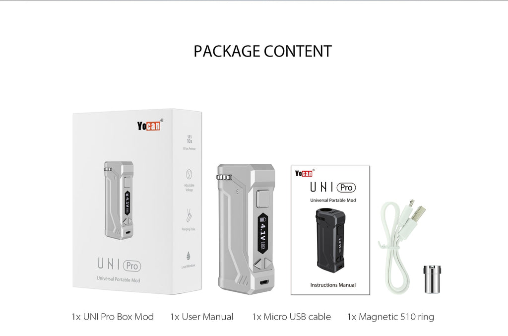 What is in the package of the Yocan UNI Pro