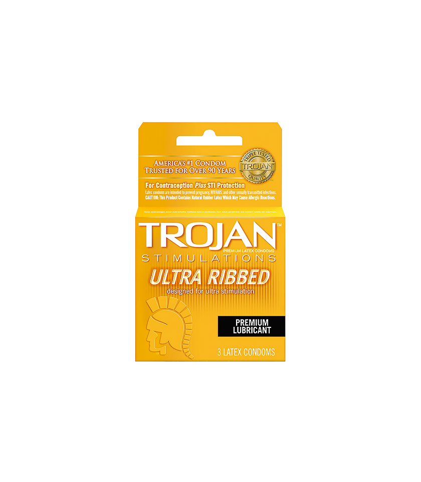 Trojan Ultra Ribbed Pink Dot