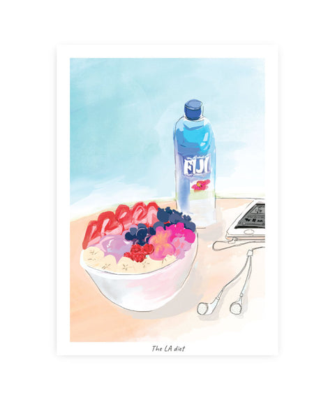 Drawlaland Postcard - The LA Diet - Pink Dot