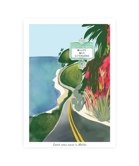 Drawlaland Postcard - Malibu Waves - Pink Dot