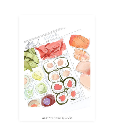 Drawlaland Postcard - Sugar Fish - Pink Dot