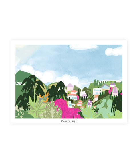 Drawlaland Postcard - Views For Days - Pink Dot