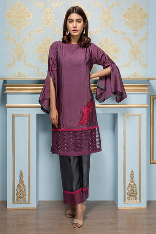 Sadia Aamir - Purple And Charcoal Flora - SA-LP08