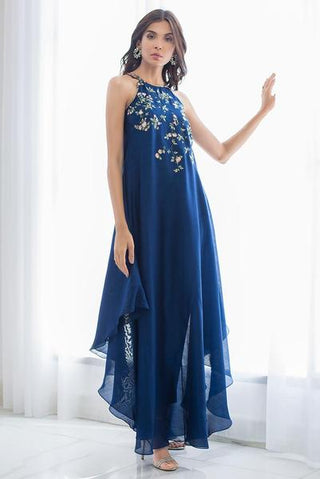 Sania Maskatiya - Blue Silk Halter Embroidered Long Dress - PD19RG028