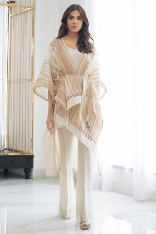 Sania Maskatiya - Brown Manipulated Front Open Cape - PD19RG011