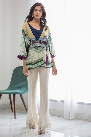 Sania Maskatiya - Blue Printed Crepe Jacket With Slip - PD19RG013