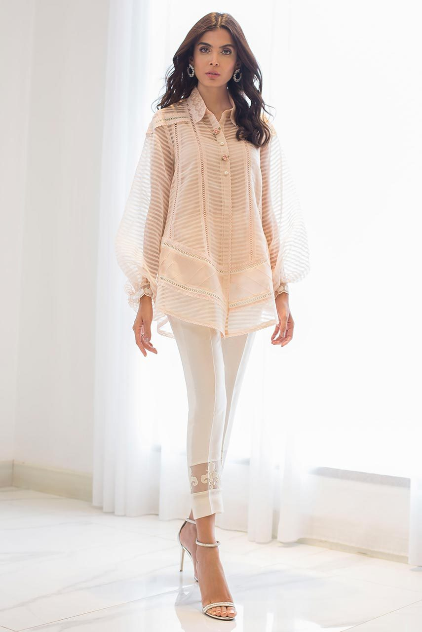 Sania Maskatiya - Pink Organza Woven Embroidered Button Down Shirt - PD19RG030