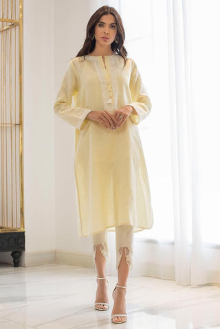 Sania Maskatiya - Yellow Linen Straight Embroidered Kurta - PD19RG004