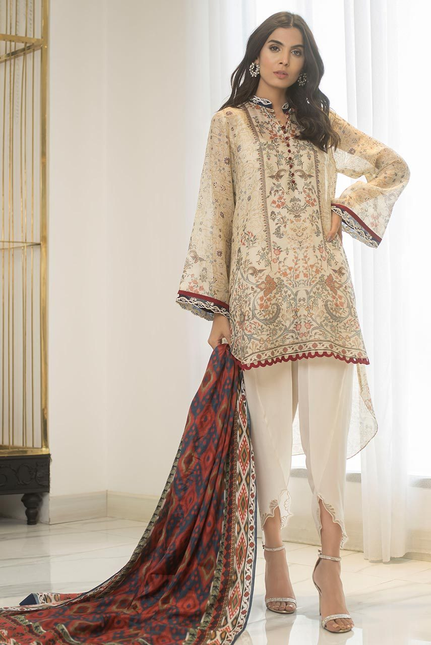 Sania Maskatiya - White Cotton Net Digitally Printed Shirt - PD19RG027